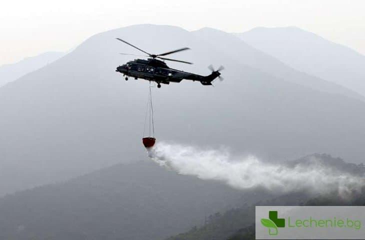 Хеликоптер пръска дезинфектант на ромската махала в Ямбол